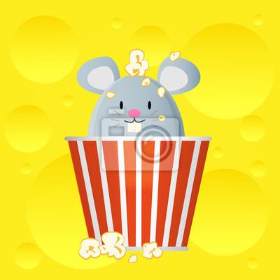 Maus im Käse Popcorn-Eimer