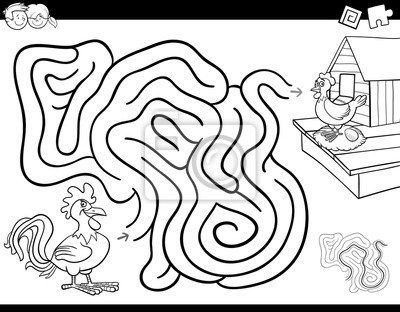 Fototapete: Maze game coloring book with rooster and hen