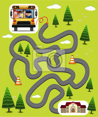 Maze Game Template With Kids In School Bus Fototapete Fototapeten