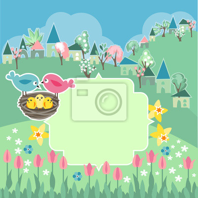 Meadow With Spring Flowers And Birds Fototapete Fototapeten