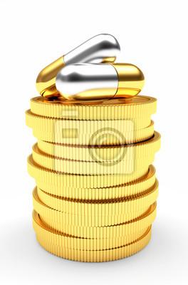 Medizinische Kapseln Auf Einem Stapel Von Goldenen Münzen Isoliert