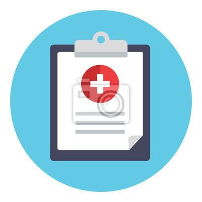 Medizinischer bericht, klinische aufzeichnung, klemmbrettikone ...