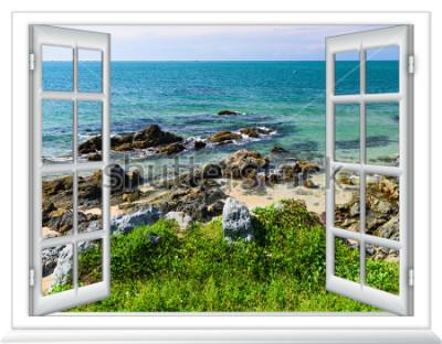 Fototapete Meerblick aus dem Fenster auf der Insel des sonnigen Sommertages
