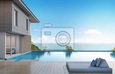 Fototapete Meerblick Haus Mit Pool Im Modernen Design   3D Rendering