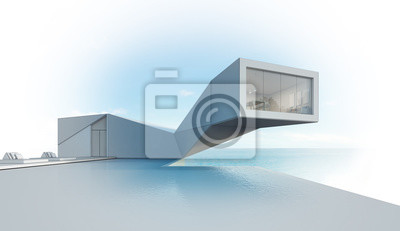 Fototapete Meerblick Haus Mit Pool Im Modernen Design, Abstract Gebäude    3d Rendering