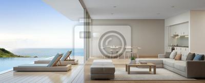 Elegant Fototapete Meerblick Küche, Ess Und Wohnzimmer Von Luxus Strand Haus Mit  Terrasse In