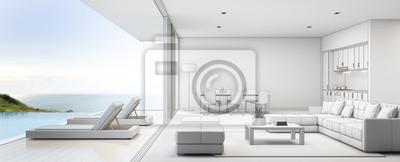 Meerblick Kuche Ess Und Wohnzimmer Von Luxus Strand Haus Mit
