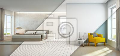 Fototapete Meerblick Schlafzimmer Und Wohnzimmer Im Luxus Strandhaus,  Modernes Interieur Des Ferienhauses   3D Rendering
