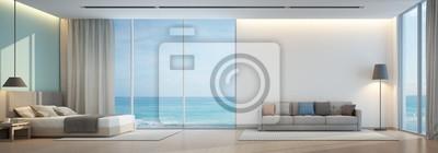 Fototapete Meerblick Schlafzimmer Und Wohnzimmer In Luxus Strand Haus    3D Rendering
