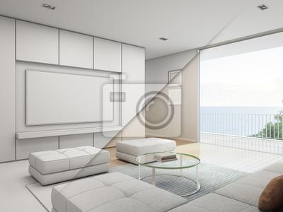 Fototapete Meerblick Wohnzimmer Mit Balkon In Luxus Strandhaus, Skizze  Design Von Modernen Ferienhaus Für