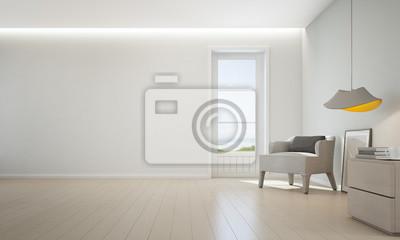 Meerblick Wohnzimmer Mit Holzboden Und Leere Weisse Wand Hintergrund
