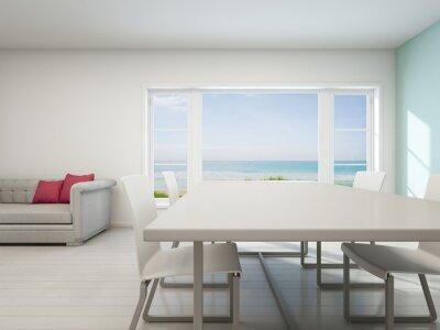 Meerblick wohnzimmer, strandhaus mit weißen vintage-interieur ...