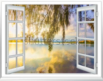 Fototapete Meerblickparadies vom Fenster auf der Insel des sonnigen Sommertages