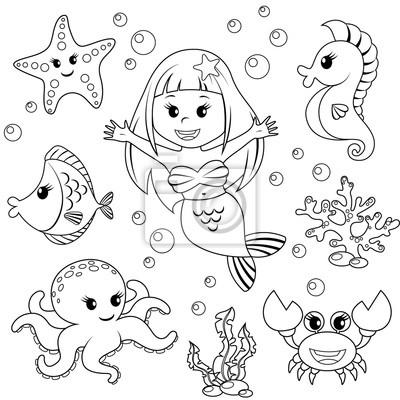 Meerjungfrau und meerestiere. fisch, seesterne, oktopus ...
