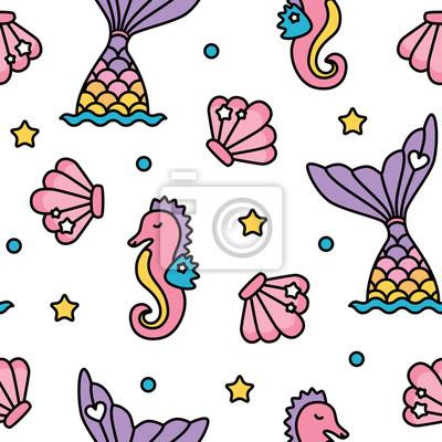Meerjungfrau und seahorse pastellfarben regenbogen niedlich nahtlose ...