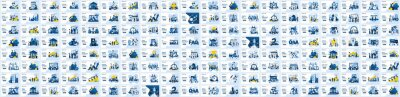 Fototapete Mega Collection of business concept flat vector illustration. Set of landing page design templates, can use for web banner, infographics, landing page, web template