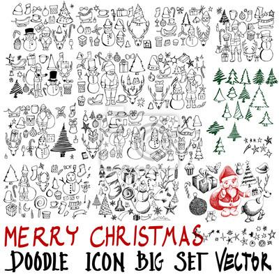 Mega Reihe Von Symbol Doodle Weihnachten Illustration Hand
