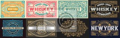Fototapete Mega set of 8 vintage labels. Vector layered