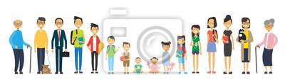 Fototapete Mehrgenerationenfamilie auf weißem Hintergrund.  Eltern und Großeltern, Jugendliche und Kinder, Baum der Gattung glückliches Familienkonzept, flache Karikaturentwurfvektorillustration