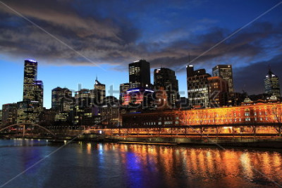 Fototapete Melbourne-Nachtansicht Australien