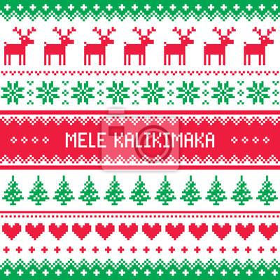 Frohe Weihnachten Hawaii.Fototapete Mele Kalikimaka Frohe Weihnachten In Hawaii Grußkarte Nahtlose