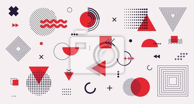 Fototapete Memphis design elements mega set. Vector abstract geometric line graphic shapes, modern hipster circle triangle template colorful illustration