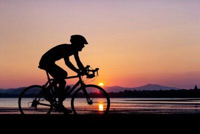 Fototapete Menschen Radfahren am Strand