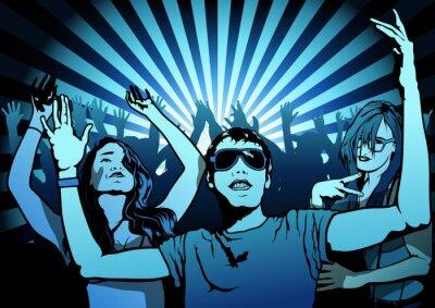 Fototapete Menschen tanzen auf Disco Party - Illustration, Vektor