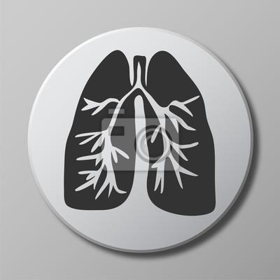 Menschliche Lunge Grau Vektor Symbol Auf Runden Knopf Mit Schatten