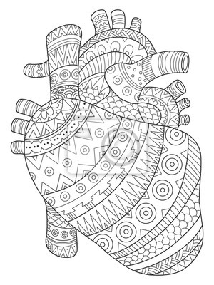Menschliches Herz Färbung Buch Vektor-Illustration