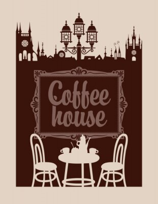 Fototapete Menü für Kaffeehaus mit Bilderrahmen und der Altstadt