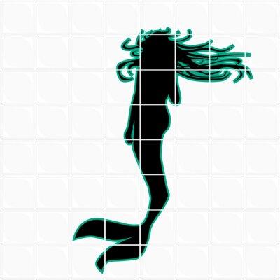 Mermaid On A White Ceramic Tile Seamless Background