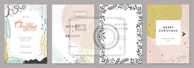 Fototapete Merry Christmas and Modern Business Holiday cards. Abstract creative universal artistic templates.