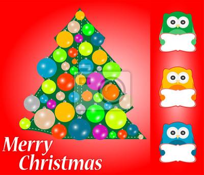 Merry christmas card design. niedlichen eulen mit grußkarte ...