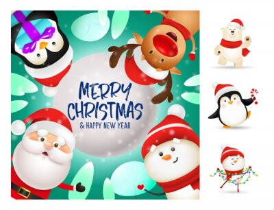 Merry Christmas colorful postcard with cute cartoon characters. Lettering with decorations can be used for invitation and greeting card. Holiday concept