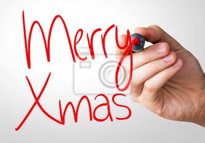 Merry Xmas Handschreiben mit einer roten Markierung auf eine transparente Platte