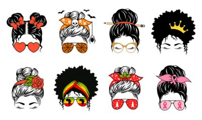 Fototapete Messy bun set designs. Mom life collection. Vector female faces in aviator sunglasses and bandanas with various themed. Woman print.