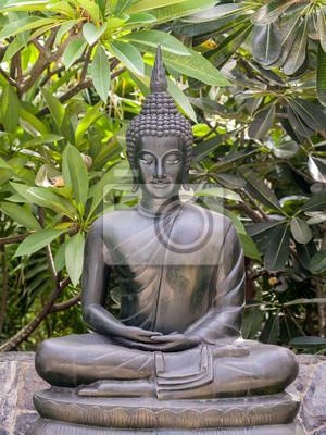 Metall Buddha Statue Lotussitz Im Garten Fototapete Fototapeten
