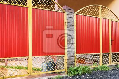 Metall Roter Zaun Mit Tur Und Tor Der Modernen Stil Design Metall