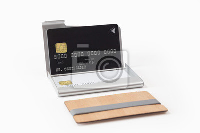 Metall Und Hölzerne Visitenkartenhalter Mit Kreditkarten
