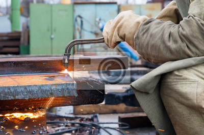 Metallschneiden Mit Propan Sauerstoff Gasschweissbrenner Brenner