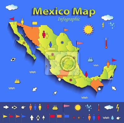 Mexiko Staaten Karte.Fototapete Mexiko Karte Infografik Politische Landkarte Einzelnen Staaten