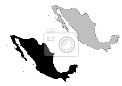 Mexiko Karte Umriss.Fototapete Mexiko Karte Schwarz Und Weiss Mercator Projektion