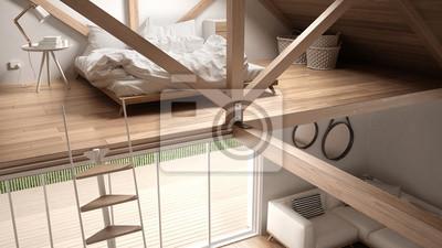 Fototapete: Mezzanine loft schlafzimmer, treppen und wohnzimmer mit sofa,