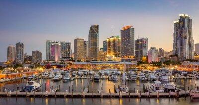 Fototapete Miami city skyline panorama at twilight