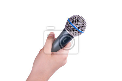 Fototapete microphone in hand isolated on white background