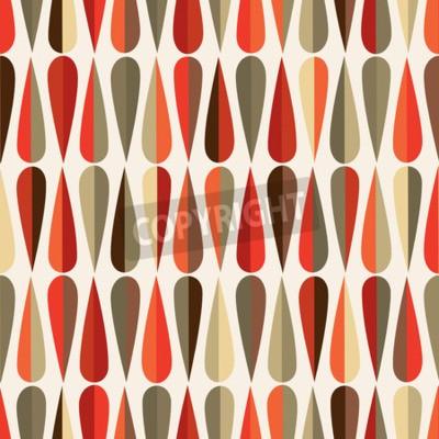 Fototapete Mid-Jahrhundert modernen Stil Retro nahtlose Muster mit Tropfen Formen in verschiedenen Farbtönen, abstrakte Wiederholung Hintergrund für alle Web-und Druck-Zwecke.
