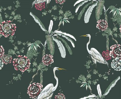 Fototapete Midnight Chinoiserie Floral Seamless Pattern, White Cranes in Palms and Roses on Dark Background, Chinese Wallpaper Design Flower Plants Jungle Forest, Tropical Birds