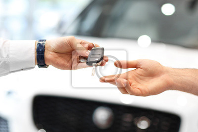Fototapete Midsection of young couple buying new car
