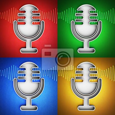 Mikrofon-symbol fototapete • fototapeten sonic, App, Schreiber ...